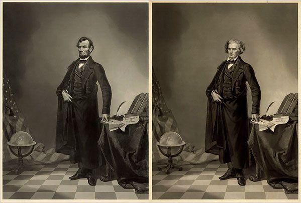 1860 r. Znany, wręcz kultowy portret Prezydenta USA Abrahama Lincolna został złożony z dwóch zdjęć - główy Lincolna oraz ciała jego politycznego przeciwnika Johna Calhoun.