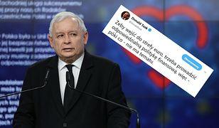 """Tusk odpowiada Kaczyńskiemu ws. euro. """"Póki co - nie ma tematu"""""""