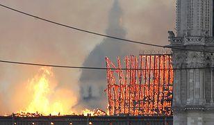 Katedra Notre Dame w ogniu.