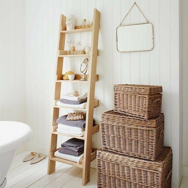 Schowki W łazience Drabinka Projekt łazienki Z Miejscem