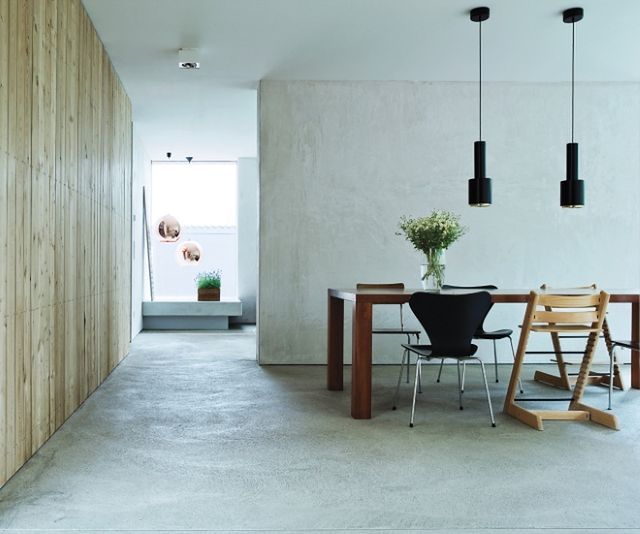 Masywnie Beton dekoracyjny pod stopami. Nowoczesna szara podłoga - WP Dom JV65