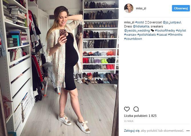 54c1cd4887a14e Zofia Ślotała z dumą prezentowała swój ciążowy brzuch opięty elegancką małą  czarną