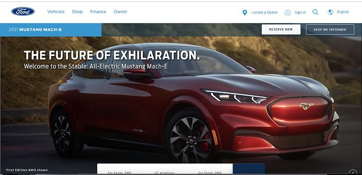 Na stronie Forda można było przez chwilę oglądać przedpremierowo nowego Mustanga Mach-E