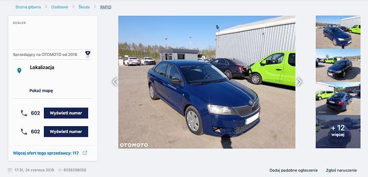 Niebieski rapid jest wystawiony za 12 800 zł