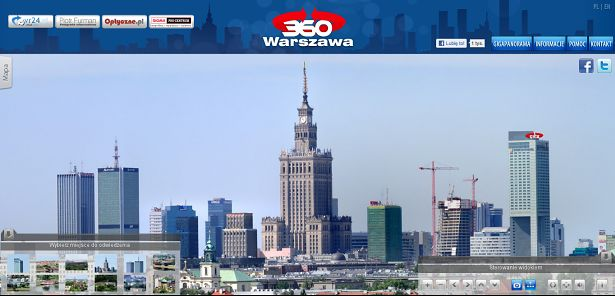 Kadr z gigapanoramy na warszawa360.pl