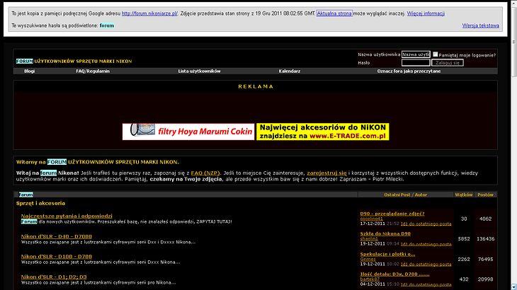 Nikoniarze.pl - wersja z Google cache
