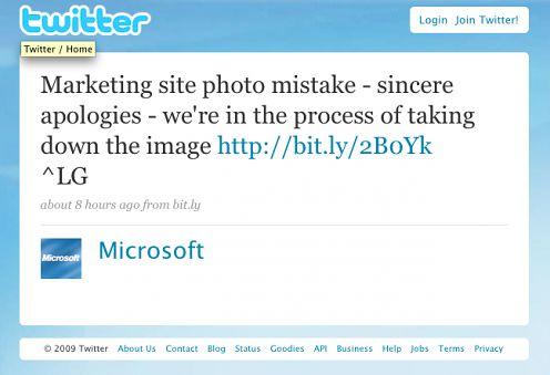 Microsoft przeprasza na Twitterze za foto-wpadkę