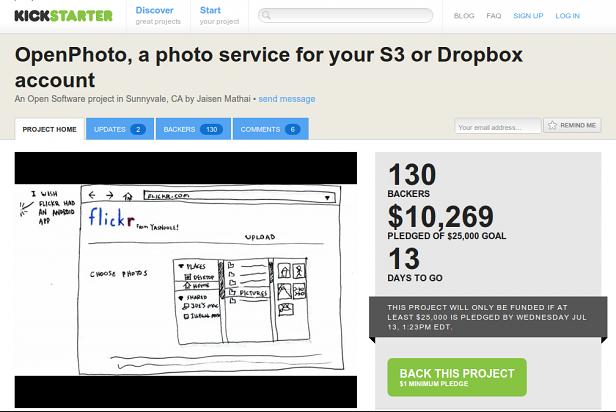 Strona OpenPhoto w serwisie Kickstarter