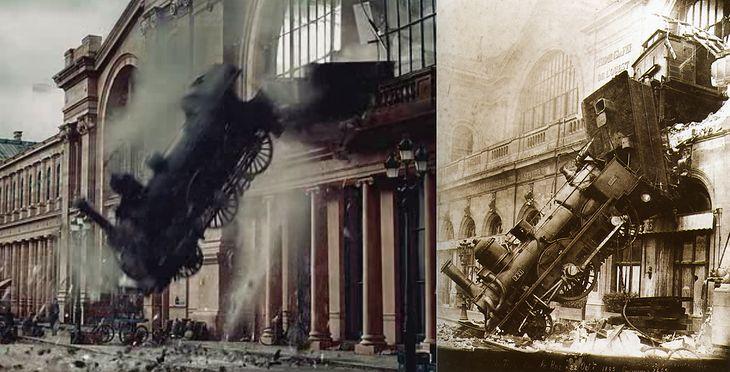 """Kadr z filmu """"Hugo i jego wynalazek"""" oraz oryginalne zdjęcie wykonane przez nieznanego fotografa."""