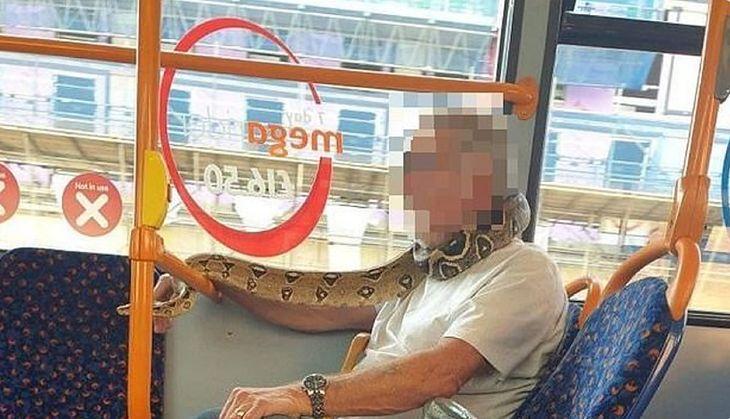 Zdjęcie dnia. Pasażer autobusu w Wielkiej Brytanii zakrył twarz żywym wężem