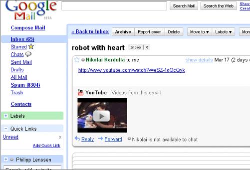 Obejrzyj film z YouTube bezpośrednio w e-mailu | Gadżetomania pl