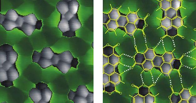 Zdjęcie pojedynczych cząsteczek PTCDA (szare bryły) i wiązań wodorowych między nimi (zielone pasy) wykonane skaningowym mikroskopem tunelowym.