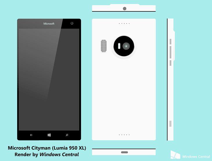 Schemat przedstawiający prawdopodobny wygląd telefonu Lumia 950XL