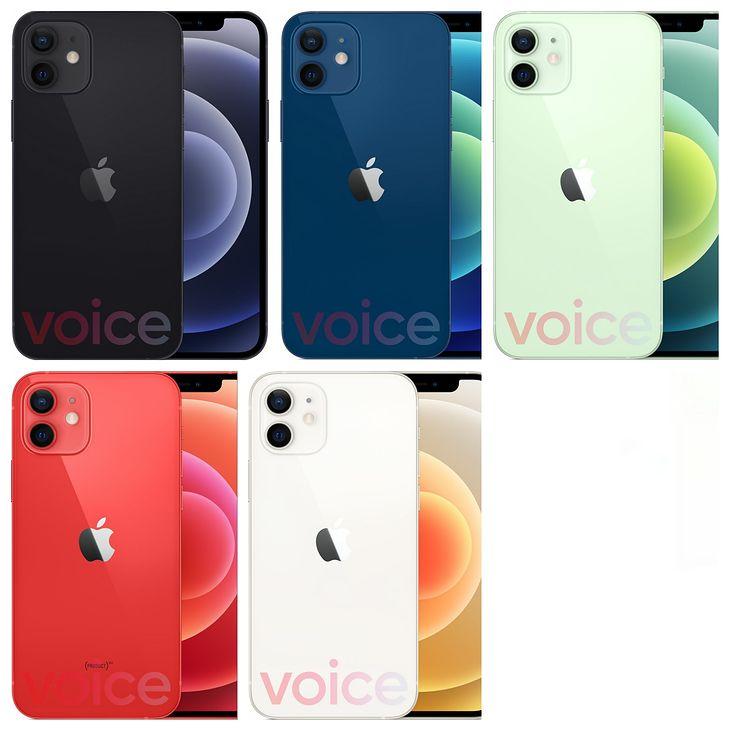 iPhone 12 w pięciu odsłonach.