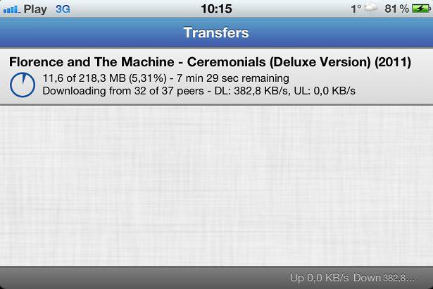 iTransmission 2 - prosty klient sieci BitTorrent dla iOS 5