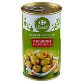Carrefour Zielone oliwki nadziewane pastą z czerwonej papryki 350 g