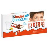 Kinder Chocolate Batoniki z mlecznej czekolady z nadzieniem mlecznym 100 g (8 x 12,5 g)