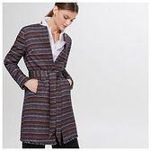 Żakardowy płaszcz z paskiem