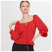 Mohito - Bluzka z bufiastymi rękawami - Czerwony