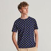 Reserved - T-shirt z drobnym nadrukiem - Niebieski
