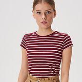 Sinsay - Koszulka w paski - Bordowy