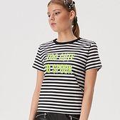 Sinsay - Koszulka w paski z napisem - Biały