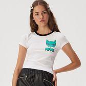 Sinsay - Koszulka z kocim motywem - Biały