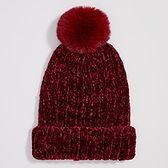 Sinsay - Szenilowa czapka z pomponem - Bordowy