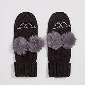 Sinsay - Rękawiczki z puszystymi pomponami - Czarny