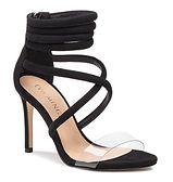 Sandały damskie Eva Minge bez wzorów na szpilce z zamkiem na wysokim obcasie skórzane