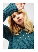 Sweter damski casualowy z okrągłym dekoltem