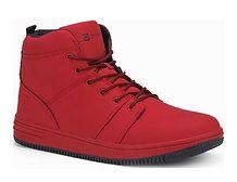 Buty zimowe męskie Ombre czerwone sznurowane casual