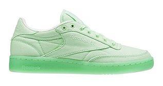 Buty sportowe damskie Reebok płaskie zielone na wiosnę sznurowane gładkie