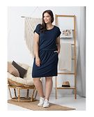 Sukienka midi prosta na spacer z krótkim rękawem