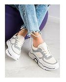 Buty sportowe damskie CzasNaButy sneakersy szare sznurowane