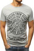 T-shirt męski z nadrukiem szary RX3115
