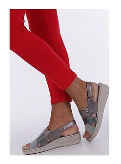 Sandały damskie Casu z niskim obcasem ze skóry ekologicznej