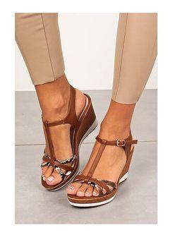 Sandały damskie Sergio Leone bez wzorów na koturnie