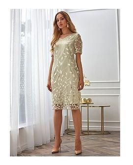 Sukienka Potis & Verso beżowa z okrągłym dekoltem z haftem mini