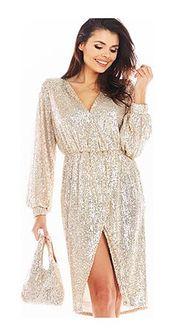 Sukienka AWAMA na sylwestra z długimi rękawami z cekinami kopertowa mini