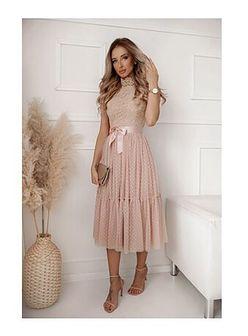 Sukienka Shopaholics Dream midi luźna z długim rękawem