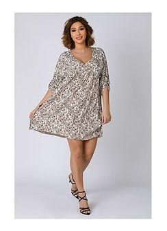 Sukienka Plus Size Company z dekoltem w serek mini
