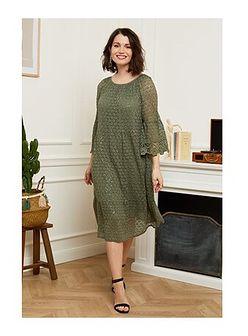 Curvy Lady sukienka midi z długimi rękawami oversize