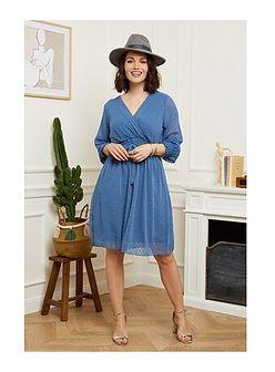 Sukienka Curvy Lady z dekoltem v niebieska z długimi rękawami elegancka
