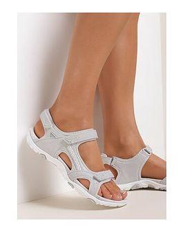 Sandały damskie szare Renee z klamrą
