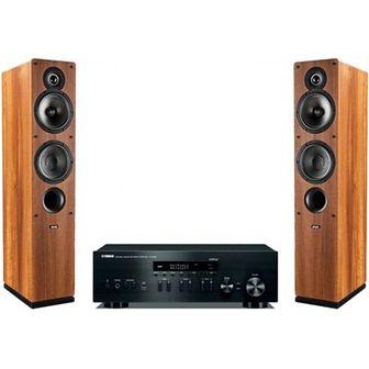 Zestaw stereo YAMAHA MusicCast R-N402D Czarny/Indiana Line Tesi 561 Orzech
