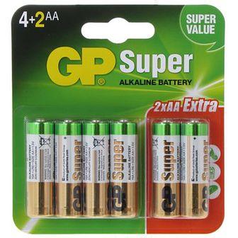 Gp Super Alkaline Baterie AA 24A LR06 6 szt.