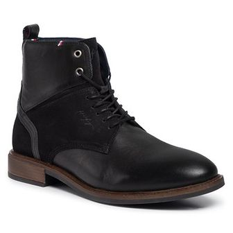 Kozaki TOMMY HILFIGER - Elevated Tall Leather Mix Boot FM0FM02456 Black 990