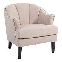 Fotel tapicerowany beżowy - krzesło - ELVERUM