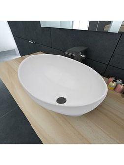 vidaXL Luksusowa umywalka owalny kształt 40 x 33 cm biała